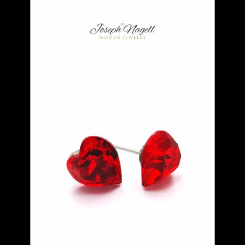 Szív fülbevaló 9mm piros Swarovski kristállyal