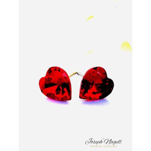 Szív fülbevaló 9mm rubin színű Swarovski kristállyal