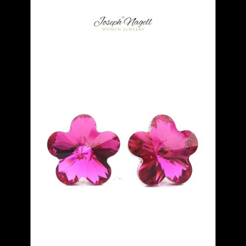 Virág fülbevaló 10mm pink Swarovski kristállyal