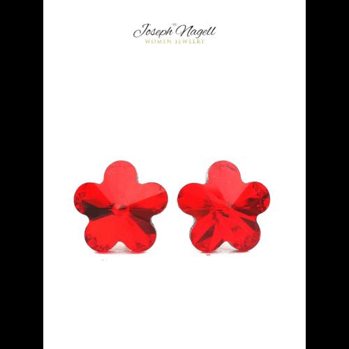 Virág fülbevaló 10mm piros Swarovski kristállyal