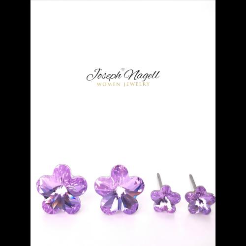 Virág fülbevaló szett lila Swarovski kristállyal