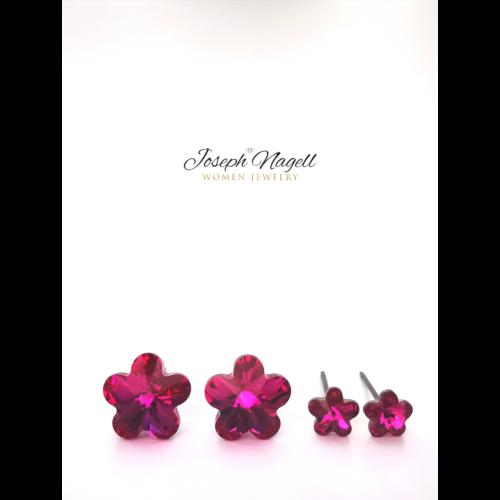 Virág fülbevaló szett pink Swarovski kristállyal