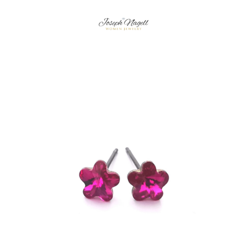 Virág fülbevaló 6mm pink Swarovski kristállyal