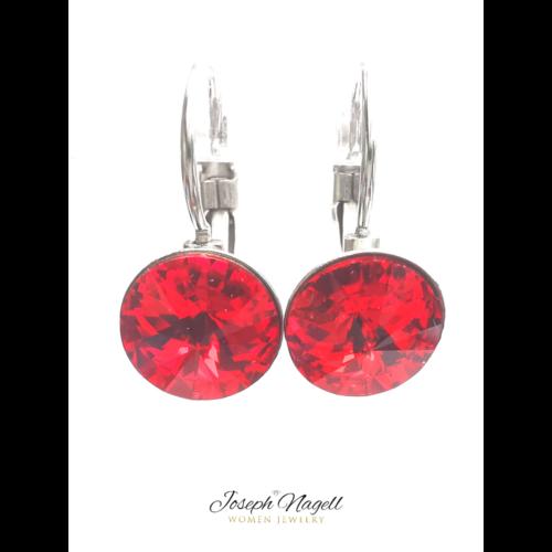 Kapcsos fülbevaló 8 mm rubin színű Swarovski kristállyal