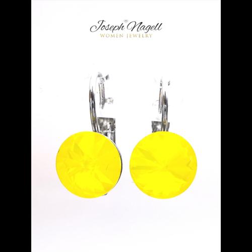 Kapcsos fülbevaló 8 mm sárga Swarovski kristállyal