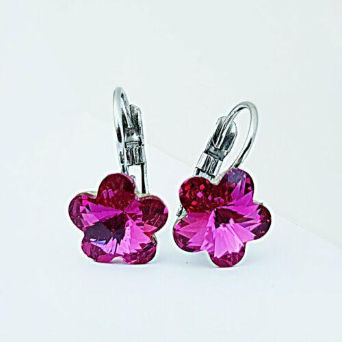 Virág kapcsos fülbevaló pink Swarovski kristállyal