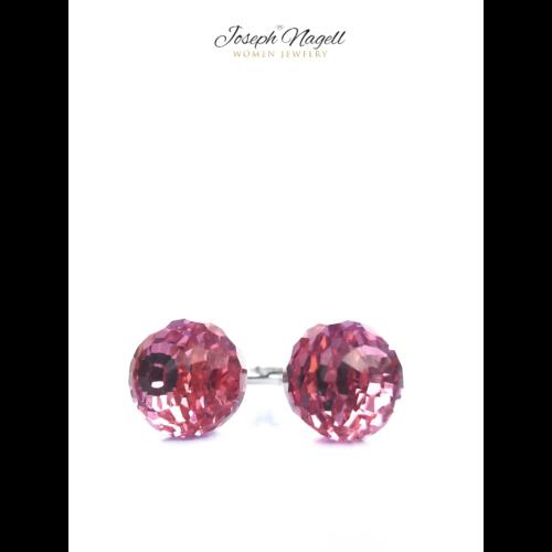 Discogömb fülbevaló rózsaszín Swarovski kristállyal