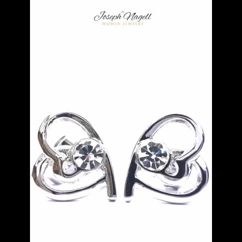 Szívek találkozása fülbevaló kristály színű Swarovski kristállyal