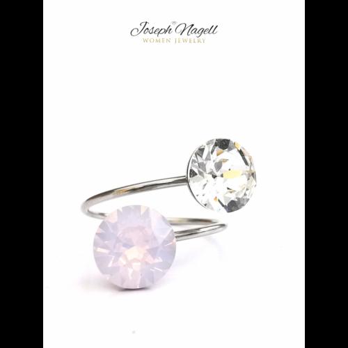 Gyűrű chaton opálrózsaszín - kristály színű Swarovski kristállyal