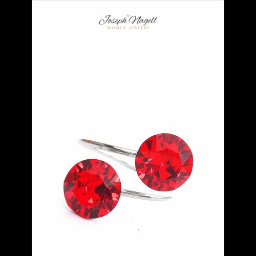 Gyűrű chaton piros Swarovski kristállyal