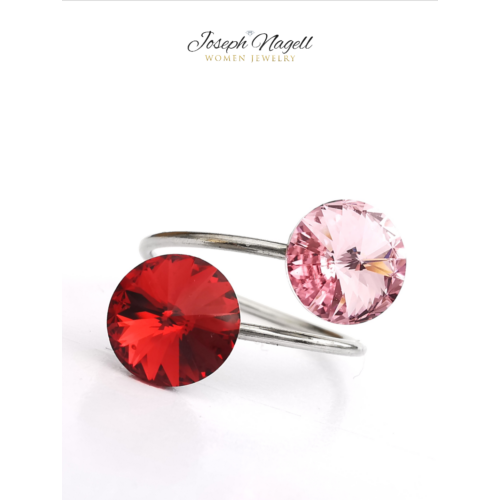 Gyűrű rivoli rubin-halványrózsaszín Swarovski kristállyal