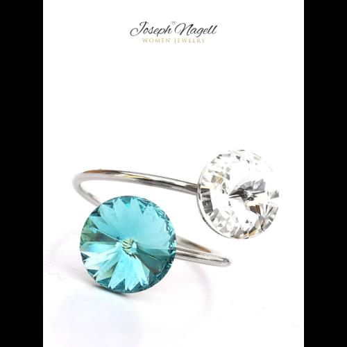 Gyűrű rivoli türkizkék-kristály színű Swarovski kristállyal