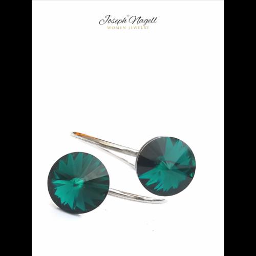 Gyűrű rivoli smaragdzöld Swarovski kristállyal