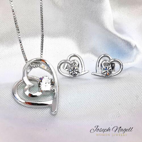 Szívek találkozása medál és fülbevaló kristály színű kristállyal