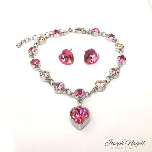 Jégszív karkötő szív fülbevalóval rózsaszín kristállyal
