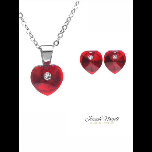 Szív pöttyel szett rubin színű Swarovski kristállyal