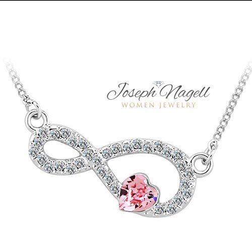 Örök szerelem nyaklánc rózsaszín Swarovski kristállyal
