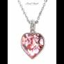 Kép 1/2 - Gyémántszív nyaklánc rózsaszín kristállyal