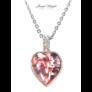 Kép 2/2 - Gyémántszív nyaklánc rózsaszín kristállyal