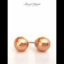 Kép 2/2 - Gyöngy fülbevaló bronz színű Swarovski kerámia gyönggyel